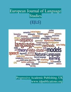 Cover Page, European Journal of Language Studies