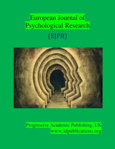 Cover Page, European Journal of Psychological Research